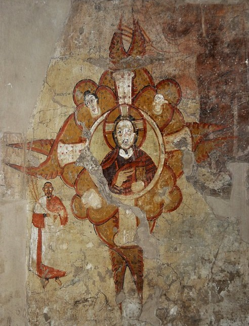 Painting from the Abdallah Nirqi church, Nubia. It shows a theophany as well as a bishop.