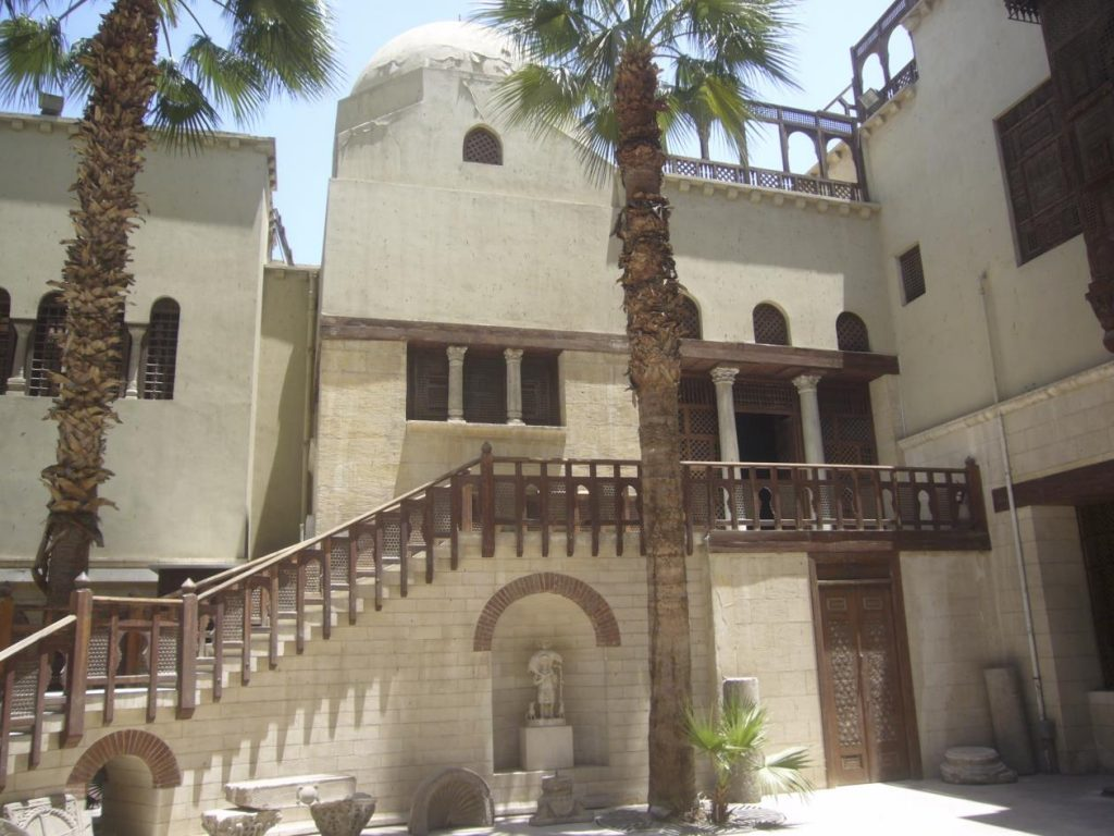 "Figure 2: Inner courtyard of the ""Old wing"" of the Coptic Museum with the neo-Fatimid cupola."