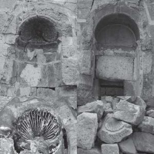 Fig. 3. Examples of the different state of preservation of the wall niches: see (in horizontal direction from left to right) niches 42, 64, 6 (detail) and the separate fragment of a niche head (Photograph: Suzana Hodak and Siegfried G. Richter.)