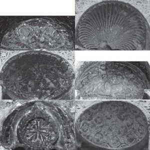 Fig. 4. The repertoire of motifs of the sculptured niche heads: see (in horizontal direction from left to right) niches 37, 52, 56, 61, 8 and 54 (Photograph: Suzana Hodak and Siegfried G. Richter).