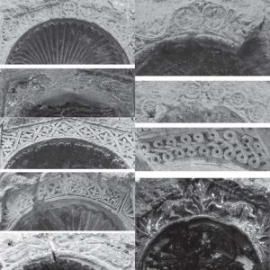 Fig. 5. Examples of the repertoire of motifs of the sculptured center of the broken niche pediments: see (in horizontal direction from left to right) niches 53, 67, 28, 65, 56, separate fragment of a niche head, 47, 32 and 42 (Photograph: Suzana Hodak and Siegfried G. Richter).
