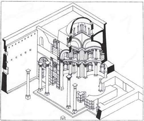 Fig. 5. Triconch of the Monastery of St. Bishoi, axo- nometric elevation (Monneret de Villard 1925-1926, vol. 2: fig. 123).