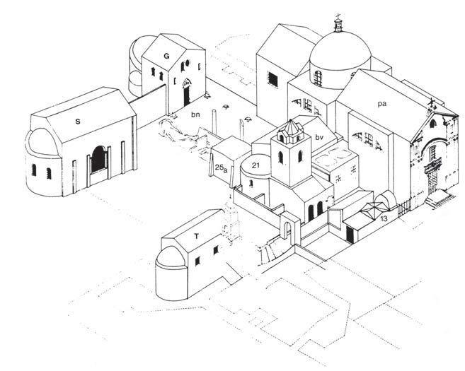 Fig. 6. Monastery of St. Paulinus, Nola, axonometric elevation (Lehmann 2004: fig. 1a).