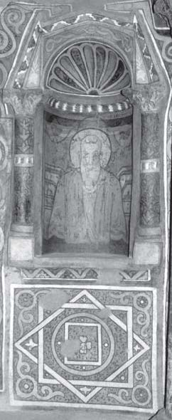 Fig. 3. Patriarch Cyril, fra­med by a niche covered with architectural polychromy. The wall below the niche is enlivened with a pain­ted geometric panel. North lobe, western niche. Photo­graph: author. © ARCE.