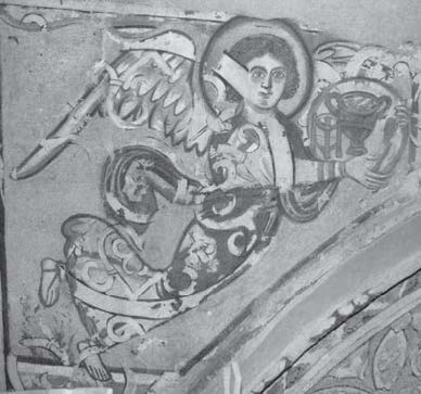 Fig. 4. Angel holding a tray with elements for the Eucharist. Eastern end of the wall above the southern semidome. Photograph: author. © ARCE.
