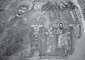 Fig. 5. Christ Enthroned between Evangelists, south semi-dome. View showing Christ and the right half of the apse only. Photograph: author. © ARCE.