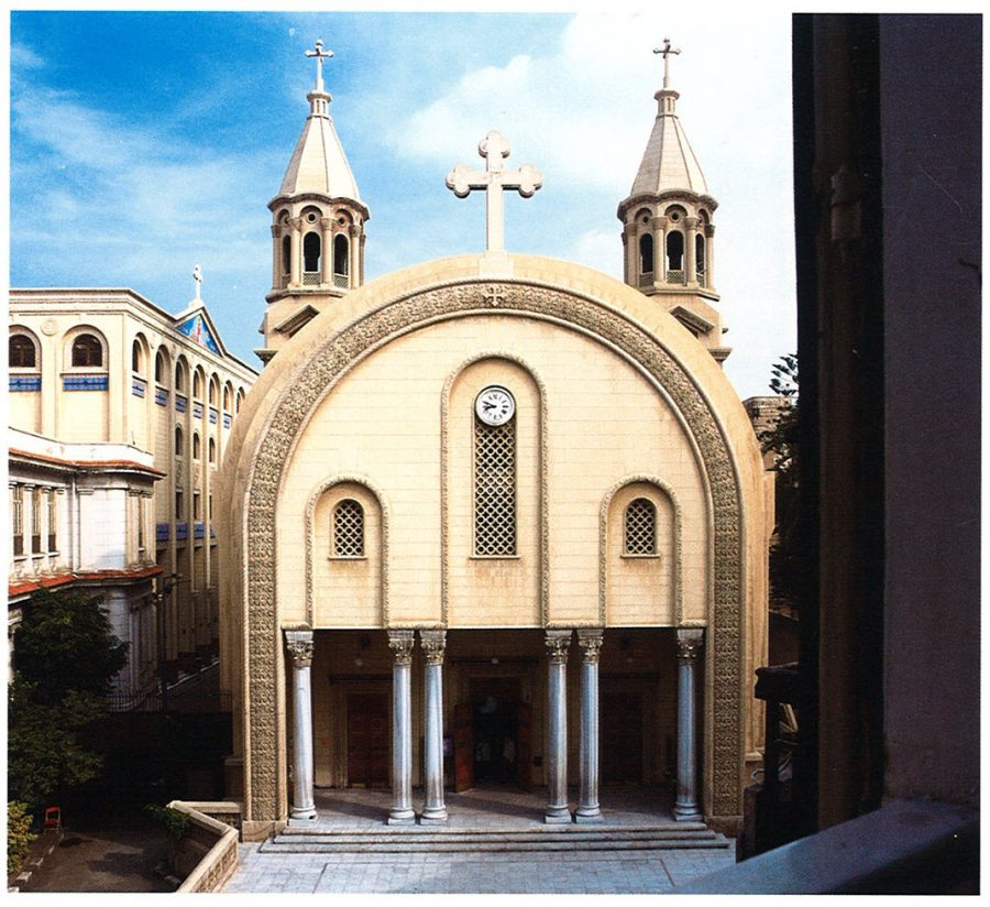 The Coptic Patriarchal Church of St. Mark's facade with belfries housing bells from Italy.