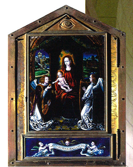 The original Catholic tabernacle with a painting of the Virgin Mary and Jesus. It is found in the northeast corner of the sanctuary.