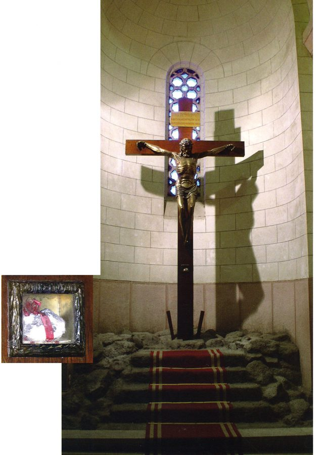 Nearby, encased in glass on the lifesize Crucifixion, is believed to be a stone from Golgotha.