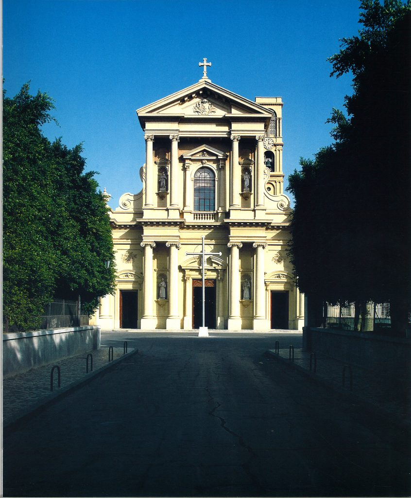The Church of St. Catherine, Alexandria: exterior view approaching from the driveway.
