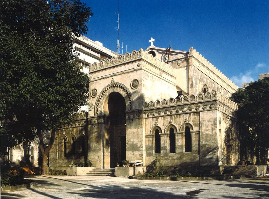 Exterior view of the Anglican Church of St. Mark from the road on Tahrir Square.