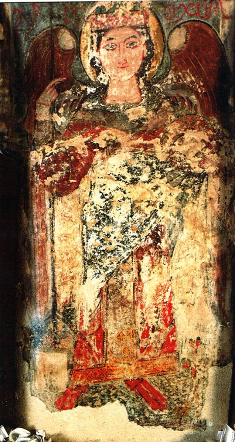 The Archangel Michael, painted on a pillar in the Church of the Virgin.