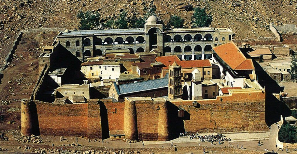 The fortified monastery and church was built by Byzantine emperor Justinian in ad 537. Not until the tenth century was the monastery dedicated to the virgin martyr St. Catherine.