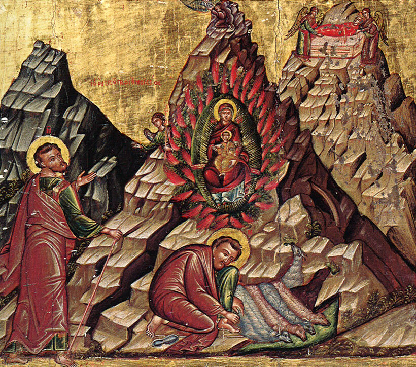 Icon of Moses and the Burning Bush is painted on the basilica's iconostasis. It depicts Moses watering his flock and seeing the Burning Bush; on the top of the mountain he receives the Tablets of the Law. The body of St. Catherine is taken to the top of the mountain by two angels.