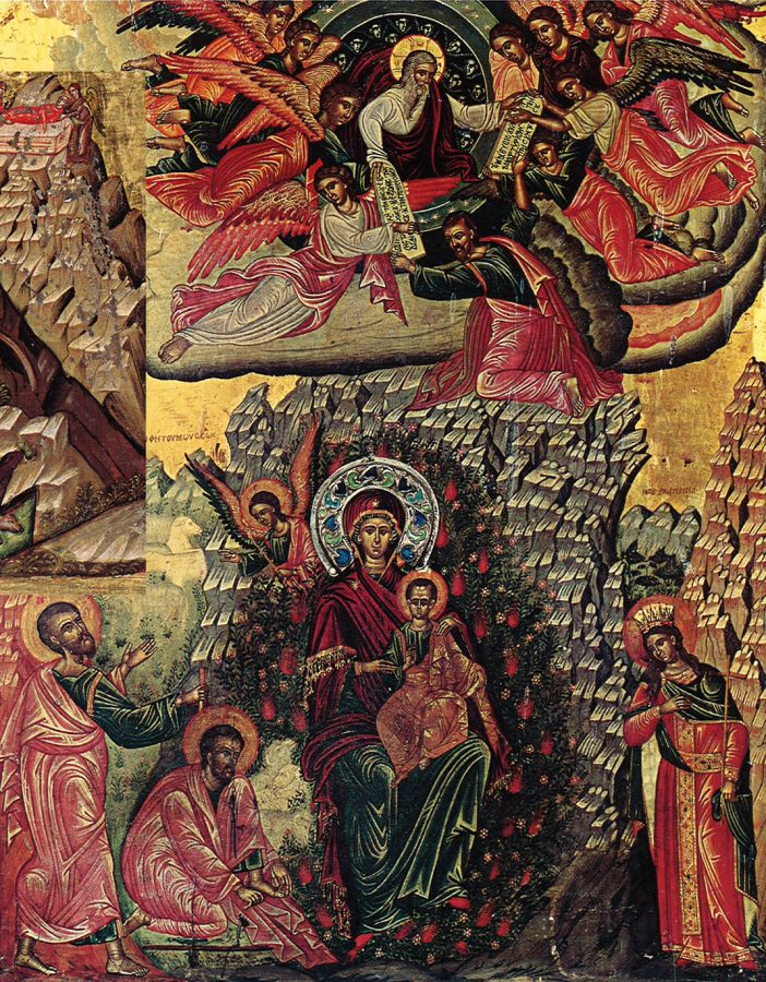 In another icon, Moses receives the Tablets of the Law on the peak of Mount Sinai, while below he kneels before the Burning Bush, inside which the Virgin and Child appear. St. Catherine witnesses the scene from the side.