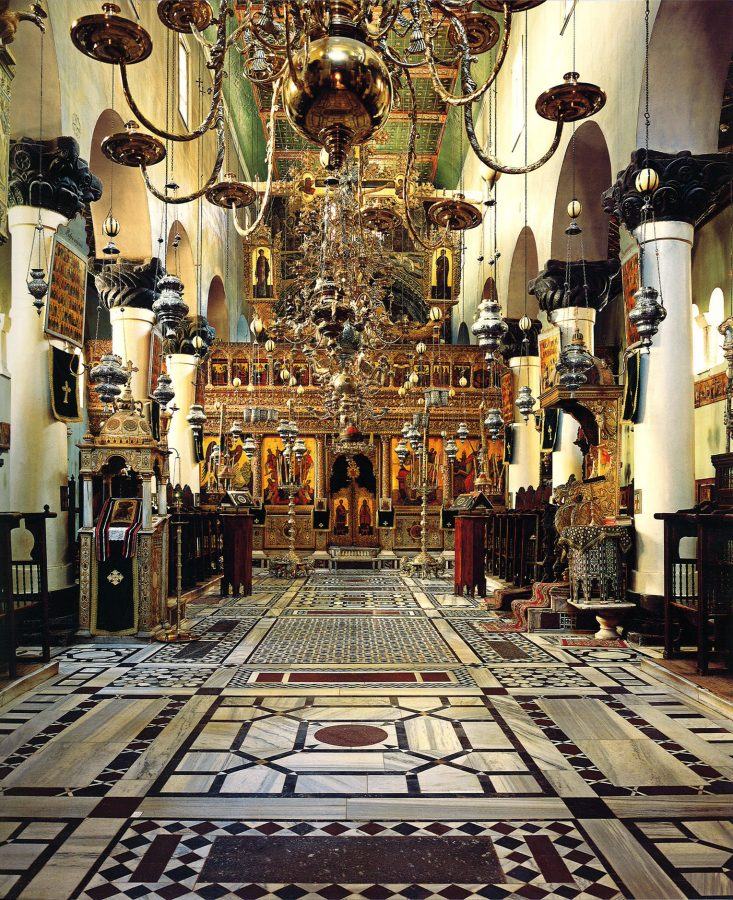 An impressive example of Greek church architecture, the Basilica of St. Catherine was built in the sixth century. The eighteenth-cen tury iconostasis separates the sanctuary and apse. St. Catherine's relics are stored in a marble reliquary in the basilica.