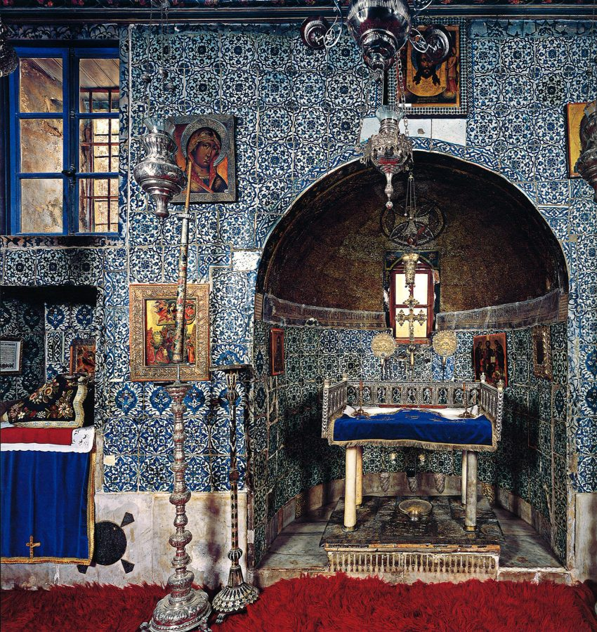 The interior of the Chapel of the Burning Bush is covered in bright blue-and-white tiles and decorated with precious icons and sacred ornaments in silver. The precise spot where the bush is believed to have stood is indicated by a silver plaque.
