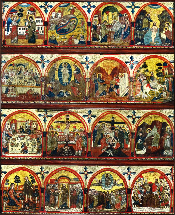 """The eighteenthcentury beam icon of sixteen feasts, originally placed on top of the former khurus screen. Starting in the upper left-hand corner, the Annunciation, the Nativity, the Presentation in the Temple, the Baptism of Christ, the Wedding of Cana, the Transfiguration, the Raising of Lazarus, the Entry into Jerusalem, the Last Supper, the Crucifixion, the Descent from the Cross, the Harrowing of Hell, Christ meeting one of the ivomen in the garden (""""Noli me tangere""""), the doubting Thomas, the Ascension, and Pentecost."""
