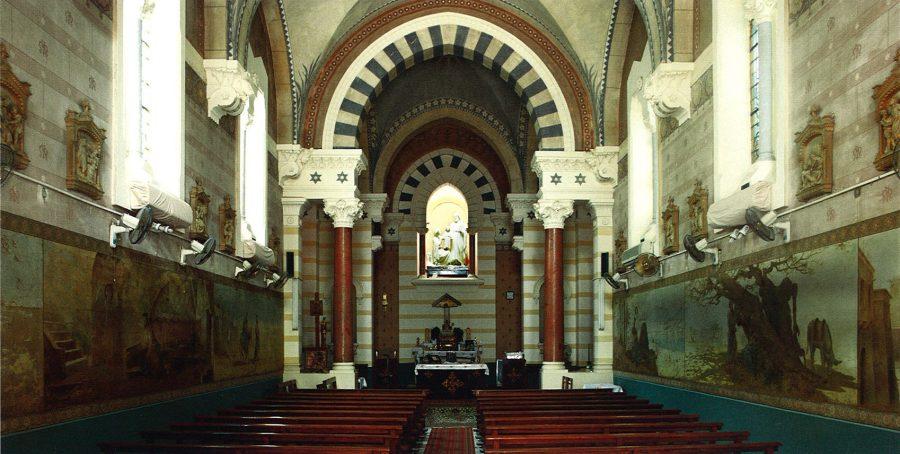 The Jesuits'Holy Family Church, Matariya: interior view toward the altar.