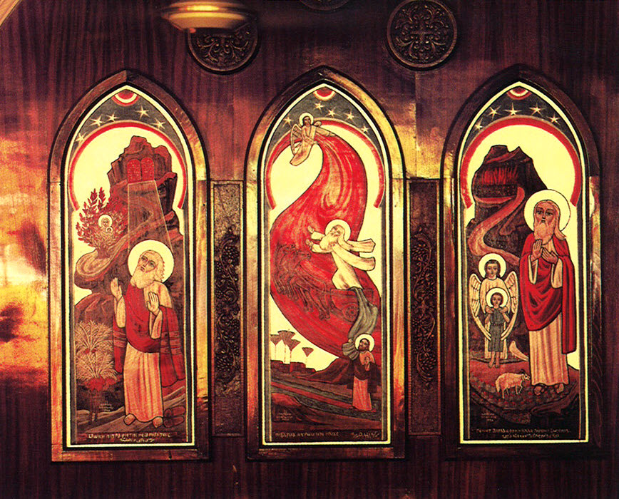 Three icons, from left to right: Moses and the Burning Bush, Elijah's Chariot, and the Sacrifice of Abraham.