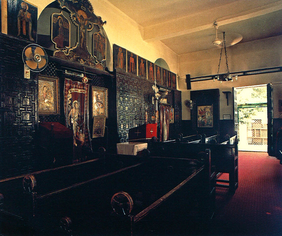 The Church of Anba Ruways. Interior view: entrance and wooden screen of the sanctuaries.