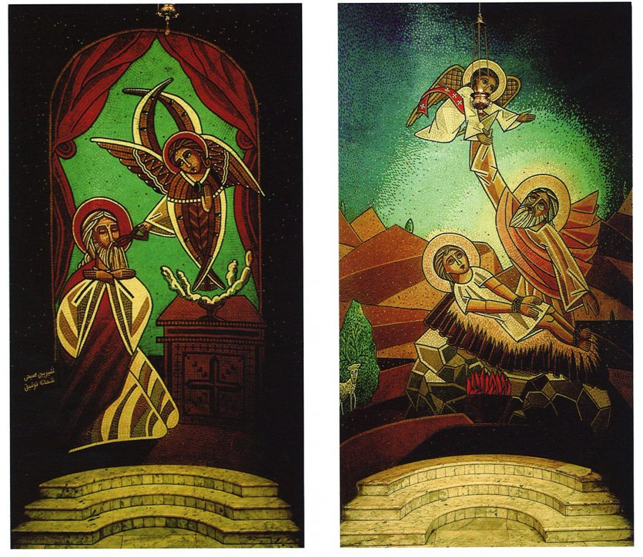 Modern mosaics of the Purification of Isaiah (left) and the Sacrifice of Abraham.