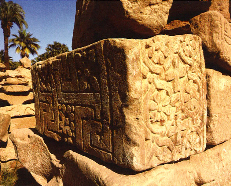 Sculptured block of one of the churches in the temple complex.