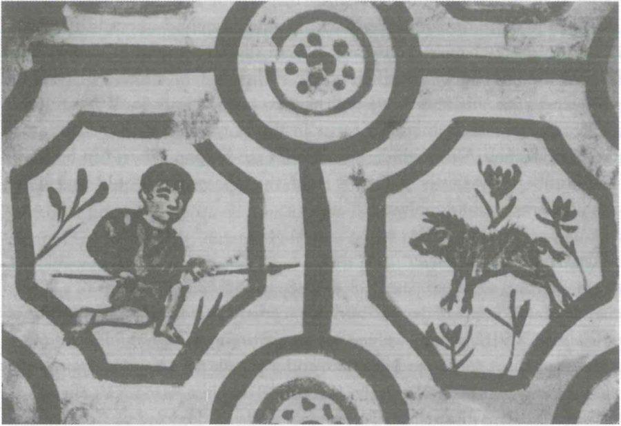 Fig. 22.2. A boy hunting a boar, detail from a tomb in Silistra (Bulgaria) (Dorigo