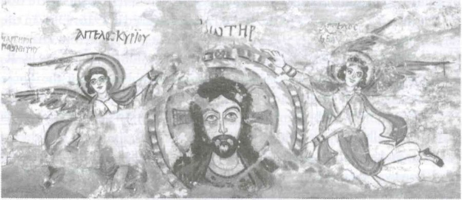 Fig. 22.3. Bust of Christ in a clipeus, supported by angels, from Bawit, now in the Coptic Museum, Cairo (Gabra 2006).
