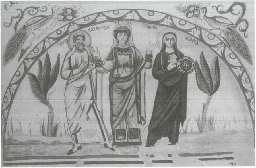 Fig. 22.6. Theodosia between Saints Colluthos and Maria, watercolor after the painting in her tomb in Antinoe (Zibawi 2003).
