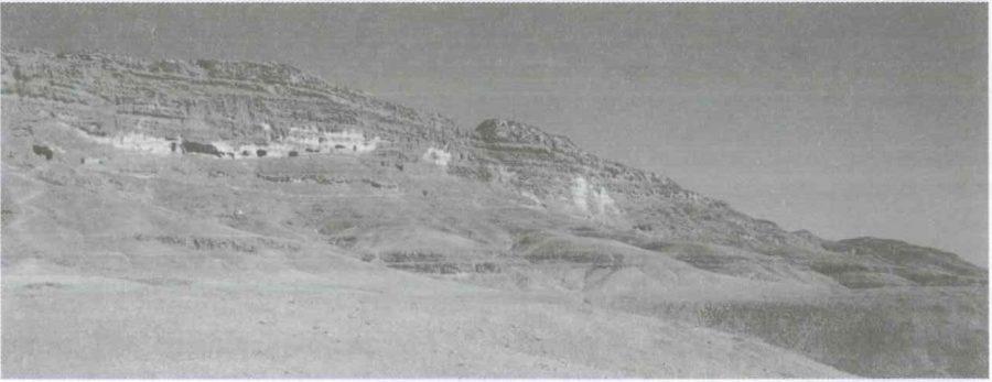 Fig. 24.1. View of the range of Old Kingdom tombs. © C.J.M. van Loon 2013.
