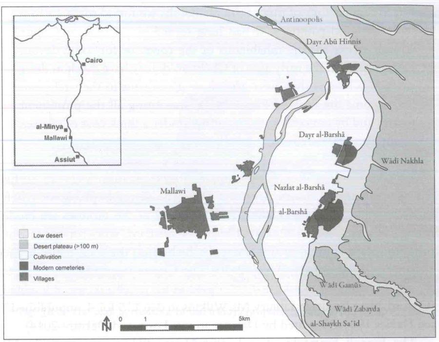 Fig. 24.3. Map of the greater Dayr al-Barsha region. Courtesy Chr. Peeters, Dayr al-Barsha Project.