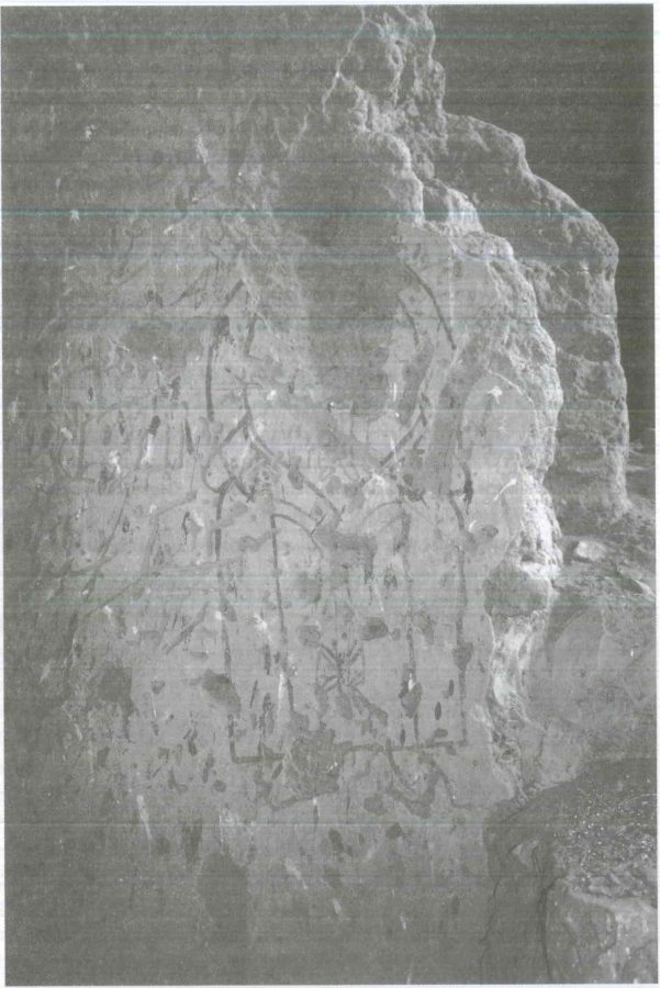 Fig. 25.2. New discovery of illustration of a priest on a cornerstone, Qubbat al-Hawa. Photograph by Howard Middleton-Jones.