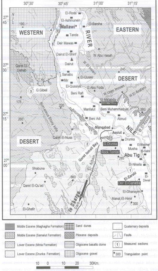 Fig. 27.2. Geological map of the studied monasteries in Asyut (Khalifa et al. 2004).