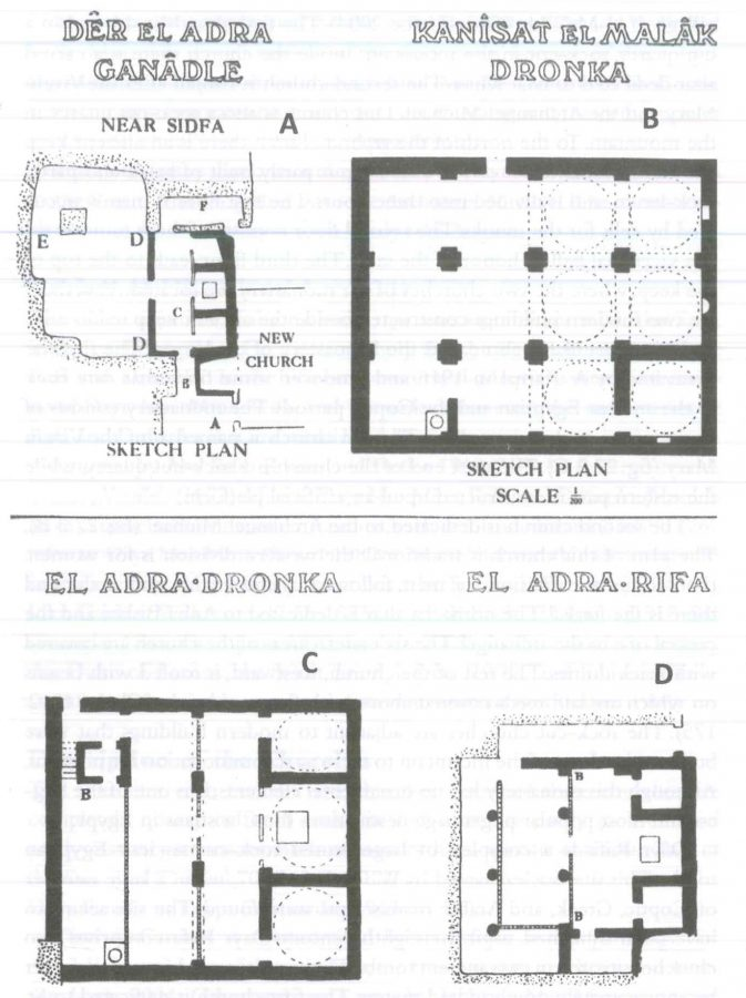 Fig. 27.3. Plans of rock-cut churches in Asyut (Clarke 1912). A: The rock-cut church of the Virgin Mary in Dayr al-Ganadla. B: The rock-cut church of the Archangel Michael in Dayr Durunka. C: The rock-cut church of the Virgin Mary in Dayr Durunka. D: The rock-cut church of the Virgin Mary in Dayr Rifa.