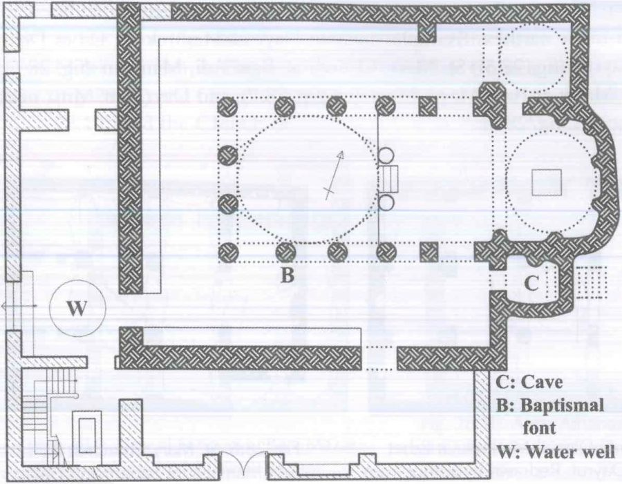 Fig. 28.3. The church of Dayr al-'Adra in Gebel al-Teir, Samalut. Redrawn by the author from Suriani and Habib 1990: 129.